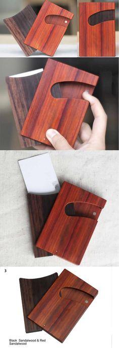 Sandalwood Wooden Bamboo Business Card Case Holder