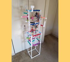 THE INDULGER Floor-Version: Fun Play Gym and Play Stand for | Etsy Diy Bird Cage, Bird Cages, Bird Play Gym, Cockatiel Toys, Parrot Play Stand, Furniture Grade Pvc, Diy Bird Toys, Bowls, Bird Stand
