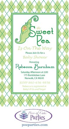 Pea in a pod baby shower invitation.  By Piece of Cake Parties.  Charming.  Effortless.  Affordable.
