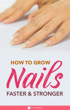 How To Grow Nails Faster And Stronger: It must be really annoying when you're trying to grow out your nails but they just don't seem to grow! You wait and wait, but to no avail. They chip, and break, till you are forced to trim them. Nail Growth Tips, Nail Care Tips, Nail Tips, Make Nails Grow, Grow Nails Faster, Nail Care Routine, Best Skin Care Routine, Vitamins For Nail Growth, Black Hair Shampoo