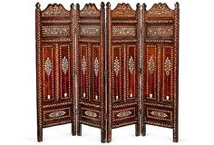 anglo-indian rosewood and ivory inlay fireplace screen