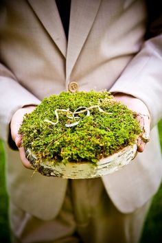 Wedding Ring Bearer Pillow Idea With Birch Slice With Moss On Top A birch slice with moss on top is a very natural idea for a woodland or forest wedding. Ring Bearer Pillows, Ring Pillows, Throw Pillows, Wood Centerpieces, Wedding Centerpieces, Wedding Decorations, Ring Pillow Wedding, Wedding Day, Forest Wedding
