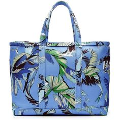 Emilio Pucci Printed Cotton Tote (11 910 UAH) ❤ liked on Polyvore featuring bags, handbags, tote bags, blue, print tote bags, zip top tote, blue purse, tote handbags and tote bag purse
