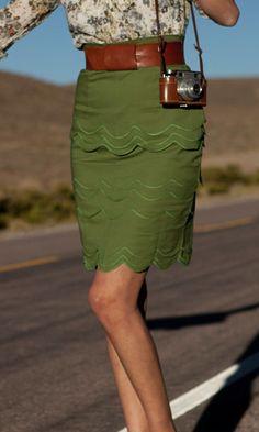 Love this Olive Green Skirt from Shabby Apple! Cute Skirts, Cute Dresses, Scalloped Skirt, Scalloped Edge, Olive Green Skirt, Church Fashion, Pretty Outfits, Fashion Outfits, Fashion Clothes