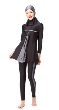 9914f87d2309 Plus Size Muslim ladies full coverage modest swimwear Islamic Womens  Swimsuit Islam BeachWear Long sleeve Swim burkinis