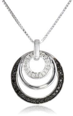"Sterling Silver 1/4cttw Black and White Diamond Circle Pendant Necklace, 18"" Amazon Collection http://smile.amazon.com/dp/B00HEFIHKE/ref=cm_sw_r_pi_dp_lKETwb1HCHXA2"