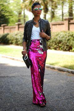 Casual Sequins | youngatstyle Paillette Rock Outfit, Sequin Skirt Outfit, Dress Skirt, Sequin Maxi, Pink Sequin, Maxi Skirts, Sequined Skirt, Sequin Pants, Pink Sparkly