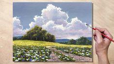 Acrylic Painting Sunlit Meadow Landscape - YouTube Acrylic Portrait Painting, Acrylic Painting Inspiration, Canvas Painting Tutorials, Acrylic Painting Canvas, Diy Painting, Abstract Landscape Painting, Abstract Canvas Art, Diy Canvas Art, Landscape Paintings