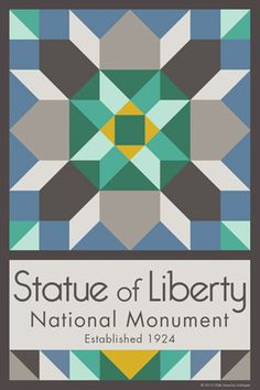 Statue of Liberty National Monument Quilt Block designed by Susan Davis. Susan is the owner of Olde America Antiques and American Quilt Blocks She has created unique quilt block designs to celebrate the National Park Service Centennial in 2016. These are the first quilt blocks designed specifically for America's national parks and are new to the quilting hobby.