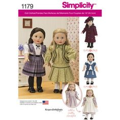 Simplicity Pattern 1179 Vintage Inspired Clothes for 18 inch Doll