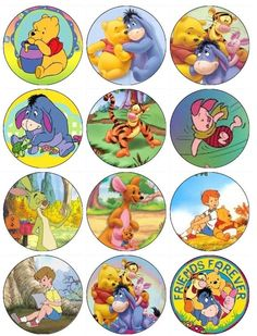 Winnie the Pooh and Friends Edible Cupcake Toppers by EtsysEdibles, $6.50
