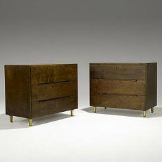 Alvar Aalto; Quilted Birch and Brass Dressers for Artek, c1950.