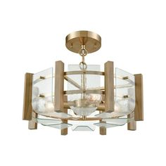 Vindalia 4 Light Semi Flush In Satin Brass With Wood Slats And Curved Glass 32331/4