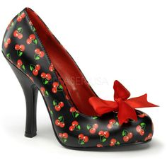 Black & Red Cherry Print Cutie Pie Pumps ($98) ❤ liked on Polyvore featuring shoes, pumps, black shoes, kohl shoes, sexy shoes, black bow pumps and red shoes