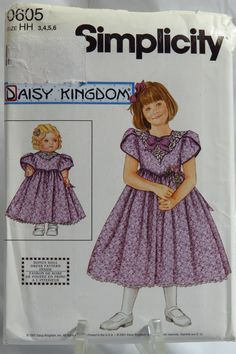 """Simplicity 0605 Child's and Girls' Dress and Doll Dress for 18"""" Doll"""