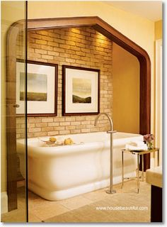 Oddly, I like the brick. We could do the back wall of the bedroom over to look like exposed brick for a tie in. House, Interior, Remodel, Beautiful Bathtubs, Interior Designers, Sweet Home, Bathrooms Remodel, Bathroom Design, Beautiful Bathrooms