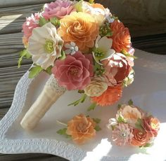 Paper Flower Bouquet Designed by Anna Fearer - Shades of Peach and Pinks - Country Chic - Shabby Chic: