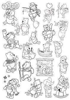 Winnie The Pooh Tattoos, Winnie The Pooh Drawing, Erde Tattoo, Colouring Pages, Disney Coloring Pages, Flash Art, Pooh Bear, Disney Tattoos, Vector File