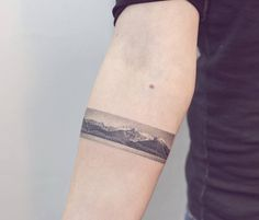 Handpoke yesterday! Poked this landscape based on a photo from Torrecillas…