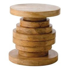 Modern Rustic Large Chunky Round Wood End Accent Table - A