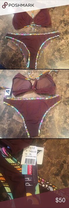 Very cute brown 2 piece PHAX bikini Very cute brown 2 piece PHAX bikini, famous colombian brand ! Enhance your figure with molded foam cups on the top & a sexy moderate rear coverage ! PHAX  Swim Bikinis