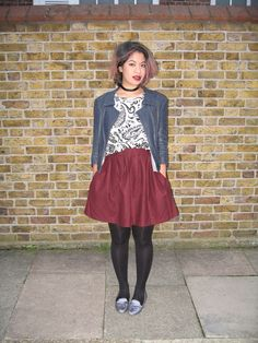 #fashion #blogger #streetstyle oxblood skater skirt, navy leather Theyskens' Theory jacket, Topshop Boutique paisley silk top, Aldo glittery slippers