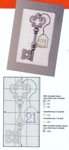 birthday lucky key opening the doors to every opportunity Cross Stitch Freebies, Cross Stitch Cards, Counted Cross Stitch Patterns, Cross Stitch Designs, Cross Stitching, Blackwork Embroidery, Cross Stitch Embroidery, Embroidery Patterns, Cross Stitch Needles