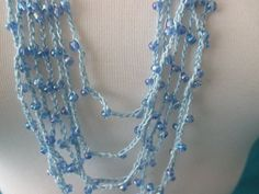 BEADED CROCHET NECKLACE  Light Blue Rainbow Beads by QuackyQuilts