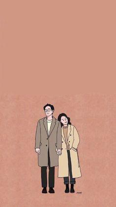 Cute Couple Drawings, Cute Couple Art, Cute Drawings, Kawaii Wallpaper, Cartoon Wallpaper, Couple Illustration, Illustration Art, Cute Wallpapers, Wallpaper Backgrounds