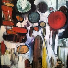 Abstract painting by Karlin Meehan. Mixed media on canvas 6' x 4'. www.karlinmeehanstudios.com