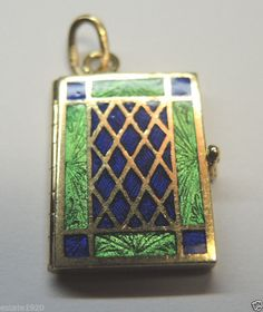 Antique Guillche Enamel 6 Picture Locket 18k Art Deco Vintage Estate Bridal FINE