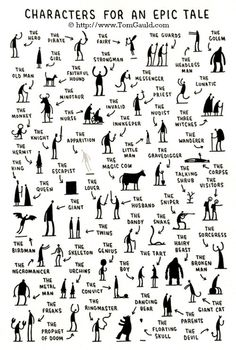 "Characters for an Epic Tale, 2009  © Tom Gauld (Cartoonist. London, England) via his website. ""Tom Gauld is a cartoonist and illustrator. He draws a weekly cartoon for the Guardian newspaper and has created a number of comic books. He lives and works in London."""