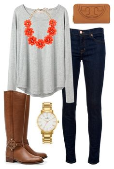 """""""Fall preppy outfit"""" by meganbriody ❤ liked on Polyvore featuring J Brand, Organic by John Patrick, J.Crew, Tory Burch and Kate Spade"""