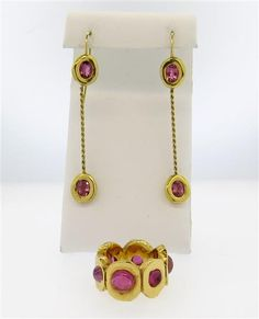 French Modernist Tourmaline 18K Gold Earrings Ring Set Featured in our upcoming auction on June 14, 2016!