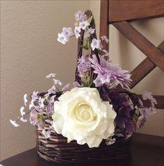 Flower Girl Basket in White & Lavender Gift by EllasFlowerBasket, $45.00