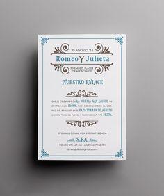 Invitación de boda retro de la colección letterpress. Con meseros y menús a juego en nuestra shop online. Incluye sobre e impresión en relieve. Desde 4,20€/u