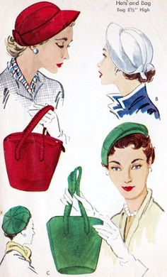 1950s HATS and BAGS PURSES Pattern McCalls 1745 Three Fabulous Hat Styles  One large Bag Purse fdc5516e3ea