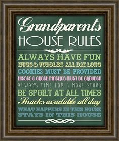 Gifts For Grandparents - Gifts From Grandkids - Chalkboard Wall Sign - Christmas Gift For Grandma  - Grandparents Rules Sign