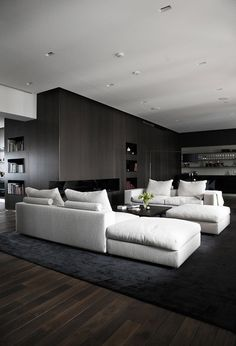 Living room with a white sofa