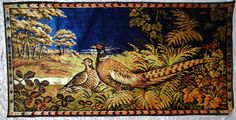 Vintage Pheasant Tapestry from Italy, Velvety Plush Landscape Scene w/ Birds, Male / Female Couple Pair, Wall Hanging by OakwoodView, $20.00