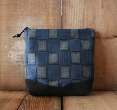 """This New clutch bag is made with Japanese Vintage blue checkered Pattern ,Silk 100% Kimono fabric """" Meisen """" and beautiful black suede cow leather bottom. This clutch also can be as a travel pouch, cosmetic bag, toiletries bag and many more! Great for everyday pouch, gift for someone!!!"""