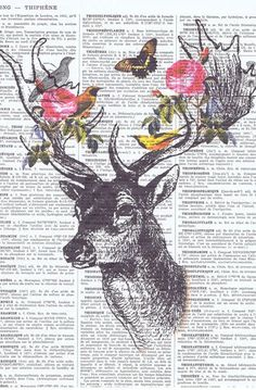 Deer birds Collage Fantasy Antique Book Pages Print handmade gift home decor