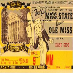 Christmas football gifts made from authentic football tickets. Set of four ceramic 1948 Mississippi State vs. Ole Miss Football Ticket Coasters.™ http://www.christmasfootballgifts.com/ Christmas football gifts. Perfect stocking stuffers for football fans. #47straight #gifts