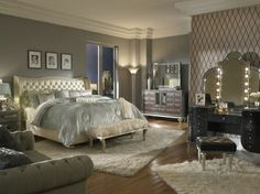 Michael Amini Aico Hollywood Swank King Bedroom Collection for Bedroom area at Leon Furniture Store in Phoenix is the amazing bedroom piece for bedroom area.