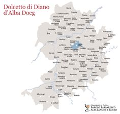 Dolcetto di Diano dAlba o Diano dAlba Docg, the map of vineyards