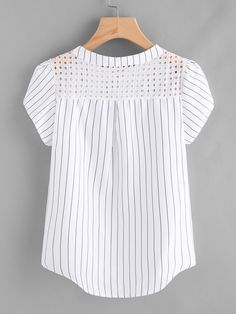 Material: Polyester Color: White Pattern Type: Striped Collar: Band Collar Style: Casual, Work Type: Equipment Decoration: Button Sleeve Length: Short Sleeve Fabric: Fabric has no stretch Season: Summer Shoulder(Cm): Bust(Cm): Length(Cm): Casual Dresses, Fashion Dresses, Sewing Blouses, Kurta Neck Design, Petal Sleeve, Outfit Trends, Blouse Dress, Girl Fashion, Fashion Design