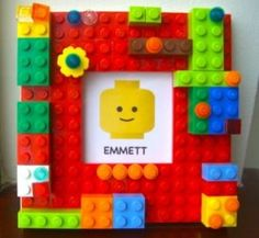 """Lego Picture Frame- Brilliant idea for all thos """"extra"""" pieces laying around!"""