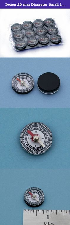 Dozen 20 mm Diameter Small Inexpensive Air-damped Magnetic Plastic Compasses -- Great for Survival Kits. These inexpensive plastic compasses are perfect for educational science projects, hobbies, or inlaying into walking sticks or rifle stocks. The compasses feature an ultra-low friction bearing and a highly magnetized compass needle for fast and precise compass readings. The low cost compasses are 20 mm (0.790 inches) in diameter, 7.25 mm (0.285 inches) thick, and weigh only 1.4 grams…