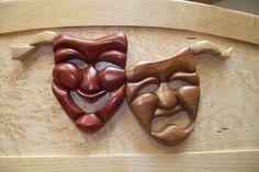 Intarsia Comedy/Tragedy Masks in Bloodwood and Walnut on Birdseye Maple