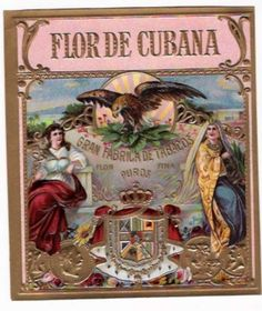 I found this on www.urbitrend-collectables.com vintage cigar label art flor de cubana mat gold two women with eagle